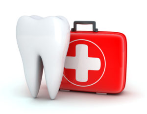 Illustration of tooth and dental emergency kit